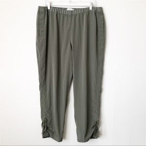 Chico's Army Green Ruched Tie Ankle Jogger Pants